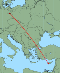 Map of route from Berlin (Schoenefeld) to Paphos