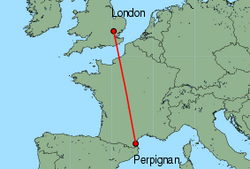 Map of route from London (Stansted) to Perpignan