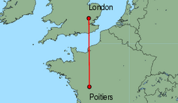 Map of route from London (Stansted) to Poitiers
