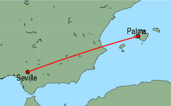 Map of route from Palma to Seville