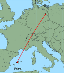 Map of route from Palma to Berlin(Schoenefeld)