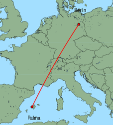 Map of route from Palma to Berlin(Tegel)