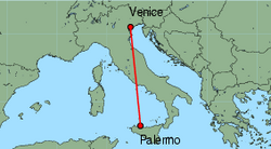 Map of route from Venice (Marco Polo) to Palermo