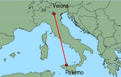 Map of route from Verona (Villafranca) to Palermo