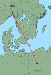 Map of route from Oslo&nbsp;(Rygge) to Poznan