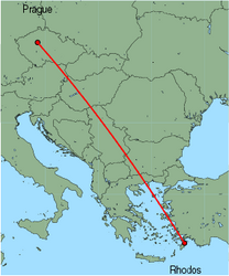 Map of route from Prague to Rhodos