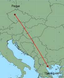 Map of route from Prague to Thessaloniki