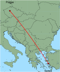 Map of route from Prague to Samos