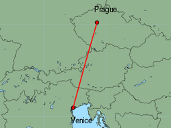 Map of route from Prague to Venice(MarcoPolo)