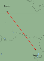 Map of route from Vienna to Prague