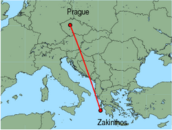 Map of route from Prague to Zakinthos