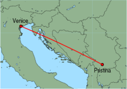 Map of route from Pristina to Venice (Marco Polo)
