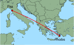 Map of route from Pisa to Rhodos