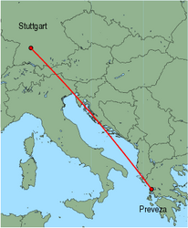 Map of route from Stuttgart to Preveza