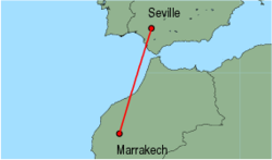 Map of route from Marrakech to Seville