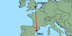 Map of route from Reus to London (Stansted)