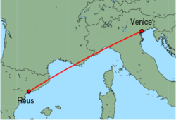 Map of route from Reus to Venice(MarcoPolo)