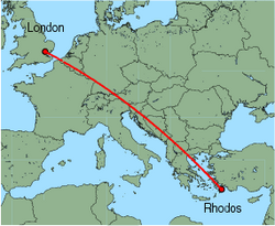 Map of route from London (Stansted) to Rhodos