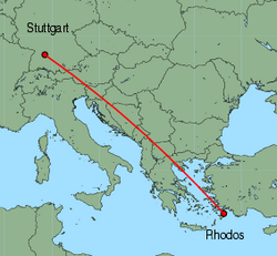 Map of route from Stuttgart to Rhodos