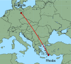 Map of route from Berlin (Tegel) to Rhodos