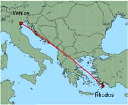 Map of route from Venice (Marco Polo) to Rhodos