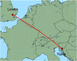 Map of route from London (Stansted) to Rijeka
