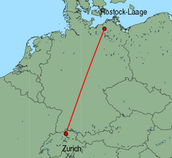 Map of route from Zurich to Rostock-Laage