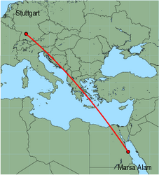 Map of route from Stuttgart to Marsa Alam