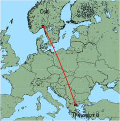 Map of route from Oslo (Rygge) to Thessaloniki