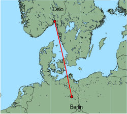 Map of route from Oslo (Rygge) to Berlin (Schoenefeld)
