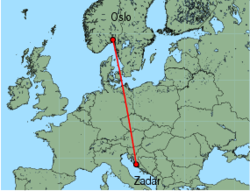 Map of route from Zadar to Oslo (Rygge)
