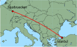 Map of route from Saarbruecken to Istanbul(Sabiha)