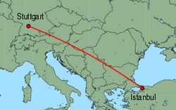 Map of route from Stuttgart to Istanbul (Sabiha)