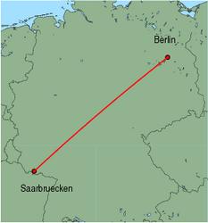 Map of route from Saarbruecken to Berlin(Tegel)