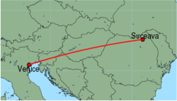 Map of route from Suceava to Venice (Marco Polo)