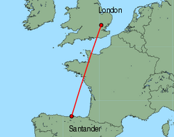 Map of route from Santander to London(Stansted)