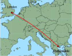Map of route from London(Stansted) to Thessaloniki