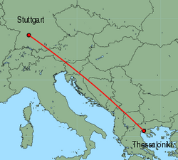 Map of route from Stuttgart to Thessaloniki