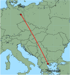 Map of route from Berlin (Schoenefeld) to Thessaloniki