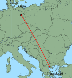 Map of route from Berlin (Tegel) to Thessaloniki