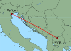 Map of route from Skopje to Venice(MarcoPolo)