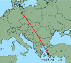 Map of route from Berlin(Tegel) to Samos