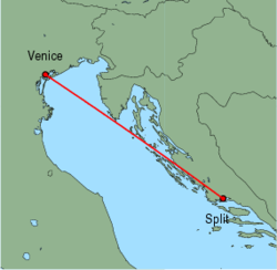 Map of route from Venice (Marco Polo) to Split