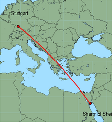 Map of route from Stuttgart to Sharm El Sheikh