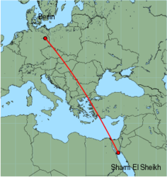 Map of route from Berlin (Schoenefeld) to Sharm El Sheikh