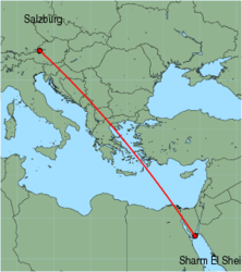 Map of route from Salzburg to Sharm El Sheikh