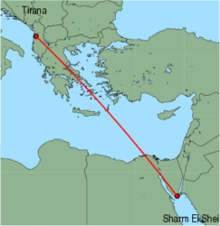 Map of route from Tirana to Sharm El Sheikh