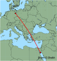 Map of route from Sharm El Sheikh to Berlin (Tegel)