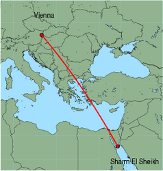 Map of route from Vienna to Sharm El Sheikh