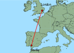 Map of route from Seville to London(Stansted)